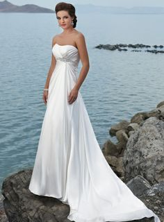 A-line Chiffon Sleeveless bridal gown - Click image to find more Weddings Pinterest pins