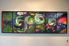 Created out of a vision of collaboration and unity by artist Suzi Furtwangler , Noah's Ark is a six panel crayon mosaic of the Bible story.  Six schools and p