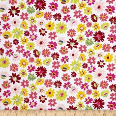 Dear Stella Blossom Flower Crush Multi from @fabricdotcom  From Dear Stella, this cotton print fabric features summery daisies that will have you daydreaming about spring planting! Perfect for quilting, apparel and home decor accents. Colors include yellow, white, shades of green, magenta and shades of pink.