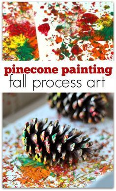 process art using pinecones to paint. Pinecone painting is the perfect fall process art activity for preschool or at home.Explore process art using pinecones to paint. Pinecone painting is the perfect fall process art activity for preschool or at home. Fall Crafts For Kids, Kids Crafts, Art For Kids, Fall Toddler Crafts, Spring Crafts, Fall Art For Toddlers, Kids Diy, Pine Cone Crafts For Kids, Thanksgiving Preschool Crafts