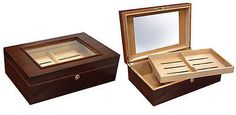 """NEW DALTON - 120 COUNT #cigar  MAHOGANY FINISH GLASSTOP HUMIDOR BOX W/ARCHED TOP!  THE DALTON - 120 CIGAR HUMIDOR. Capacity 120 Cigars, Mahogany Finish, Glass Top, Wood Framed, Removable Tray w/ Adjustable Divider, 2 Dividers in Bottom Section, Spanish Cedar Lined, 2 Humidifiers, Hygrometer, Lock & Key Set, 15"""" W x 10"""" D x 4 1/2"""" H. People Feedback is Greatly Appreciated!! #cigarbox  #CigarLifestyle  #cigarlife  Visit our website…"""