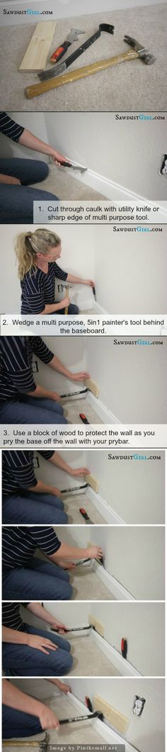 How to remove baseboard and trim without damaging your wall or molding. *I find it best to start at the beginning of a run of trim.  First CUT through your caulk.  Don't just score it, cut it.  The caulk can tear the drywall paper if you don't cut through.