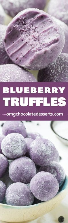 Blueberry Truffles - no bake dessert recipe ! This easy truffle recipe are actually bites of melted white chocolate and dried blueberries. Simply irresistible!!! Pinterest | https://pinterest.com/elcocinillas/