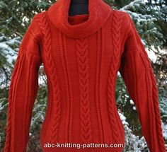 ABC Knitting Patterns - Cowl Neck Sweater with Cables free pattern