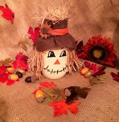 Mason the Scarecrow mason jar cookie jar burlap fall harvest by FirstImperfection on Etsy
