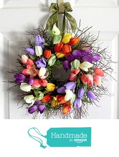 Small Tulip Spring Wreath for front door Spring by Leopard on Etsy Tulip Wreath, Floral Wreath, Spring Front Door Wreaths, Spring Wreaths, Wedding Wreaths, Easter Wreaths, Spring Colors, Mother Day Gifts, Tulips