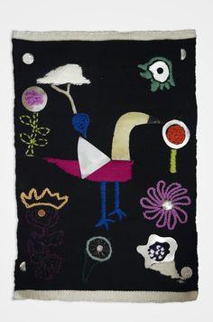 """Tapiz: """"Las Flores de Klee y un Pájaro"""": telar de lana, bordado, crochet, PLATA 925, esmaltado"""