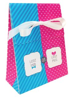 Little Man Little Miss Bow Bowtie Favor Bag Gender Reveal Party available at www.shopthepartyshop.com