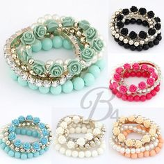 New Arrival Fashion 5 Peices Flowers Drill Summer Mashup Elasticity Bracelet #Bangle $3.99 Buy It Now + Free Shipping