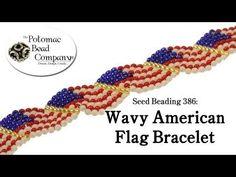 Seed Beading 386 Wavy American Flag Bracelet - YouTube