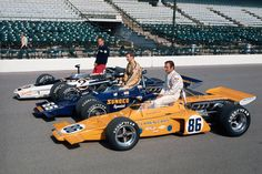 1971 Indy 500 front row . Peter Revson , Mark Donohue- McLaren M-16s. . Bobby Unser , Eagle