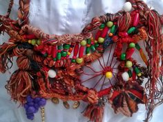 Necklace crochet, knitting, weaving, chic boho, hippy, tribal-'s harvest time by Mishaartunic on Etsy