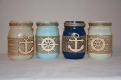 Nautical Painted Mason Jars, Anchor, Burlap, Ship Wheel, Captain Wheel, by TheSecretSparrow on Etsy https://www.etsy.com/listing/241347330/nautical-painted-mason-jars-anchor