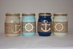 Nautical Painted Mason Jars, Anchor, Burlap, Ship Wheel, Captain Wheel, by TheSecretSparrow on Etsy https://www.etsy.com/listing/241347330/nautical-painted-mason-jars-anchor