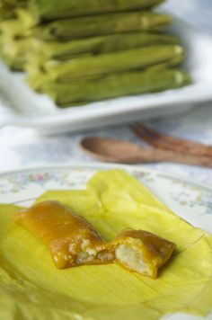 Indonesian Medan Food: Timpan ( Steam Pumpkin Wrap )