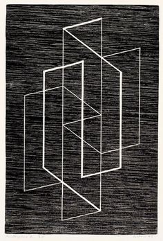 Josef Albers, Multiplex A, 1947  Woodcut. JAAF: 1976.4.120  41.91 x 31.75 cm (16.5 x 12.5 inches)  ©2007 The Josef and Anni Albers Foundation / Artists Rights Society (ARS), New York