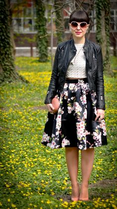 A leather jacket is the perfect way to edge up a floral print. #edgy #floral #spring