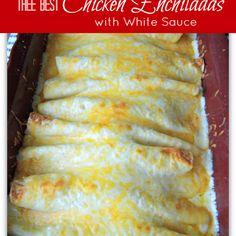 Chicken Enchiladas with White Sauce @keyingredient #cheese #chicken