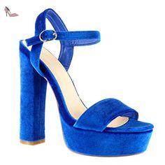Angkorly - Chaussure Mode Sandale Escarpin plateforme femme lanière Talon haut bloc 15 CM - Bleu - A6230-1 T 39 - Chaussures angkorly (*Partner-Link)
