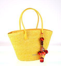 Zdobená slamená taška s brmbolcami, žltá