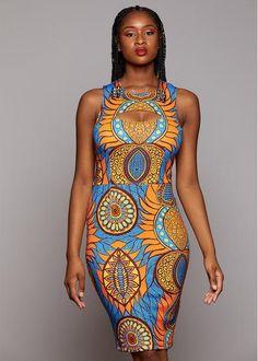 Dresses - Kenda African Print Sleeveless Pencil Dress With Stretch (Blue/Orange Flowers)