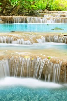 Second level of Erawan Waterfall in Kanchanaburi Province, Thailand Laos, Beautiful Waterfalls, Beautiful Landscapes, Places To Travel, Places To See, Thailand Travel, Belle Photo, Travel Around The World, Wonders Of The World