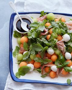 Melon and Proscuitto Salad recipe-Grab the recipe for this uber delicious Melon and Prosciutto Salad loaded with a champagne vinaigrette, tons of fresh mozzarella and melon. Melon And Proscuitto, Side Dish Recipes, Dinner Recipes, Dinner Ideas, Side Dishes, Salad Recipes, Healthy Recipes, Healthy Lunches, Simple Recipes