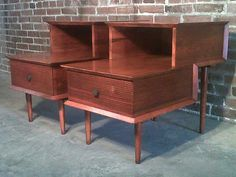 MID-CENTURY DANISH MODERN STEP-UP END TABLES - NIGHTSTANDS ~ EAMES ERA DECOR