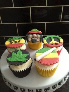 Rasta Cupcakes with bud leafs and joints and peace signs and One Love