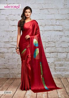 Shades Of Red Color, Maroon Color, Casual Office Wear, Satin Saree, Indian Beauty Saree, Indian Hair, Indian Gowns, Printed Sarees, Party Wear Sarees