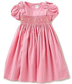 Edgehill Collection Little Girls 2T4T FloralEmbroidered Smocked PuffedSleeve Dress #Dillards