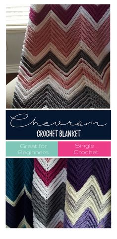 Simple chevron crochet blanket - great for beginners