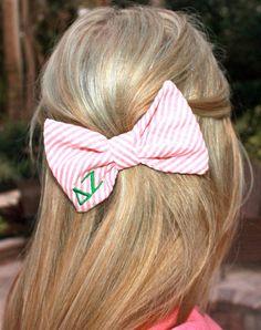 Seersucker Greek lettered hair bow. Devon Alana.