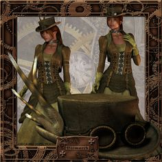 Steampunk Lass Graphics Pack