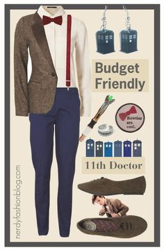 11th Doctor | Doctor Who - Budget Friendly by chelsealauren10   Blonde + Blonde tweed jacket, $61 / VILA , $26 / Flat shoes / TARDIS Earrings / River Island Dark Red Braces, $24 / Doctor Who Ring - Geronimo / Doctor Who, Bowties are Cool Patch