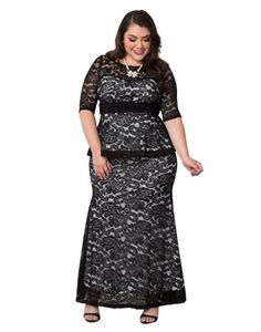 8c9b5bffa66 Kiyonna Women s Plus Size Astoria Lace Peplum Gown at Amazon Women s  Clothing store