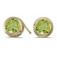 14k Yellow Gold August Birthstone Round Peridot Bezel Stud Earrings