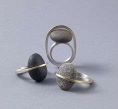 Stone or sea glass rings. Millie Behrens
