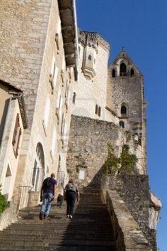 Grand Escalier di Rocamadour. Questo villaggio è un luogo famoso religiosa nel sud della Francia. Archivio Fotografico