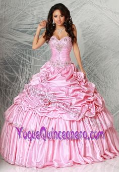 Graceful Fulton Mall Brooklyn Taffeta Appliqued Dresses for Quinceanera in Pink