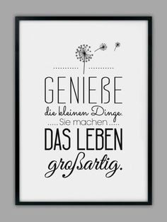 "Impresión original - impresión artística ""ENJOY LIFE"" - un producto de diseño de Smart-A . - Original Print – Lámina ""ENJOY LIFE"" – hecho a mano por Smart-Art-Art Prints en DaWanda Imágen - Brush Lettering, Hand Lettering, Words Quotes, Sayings, German Quotes, True Words, Slogan, Quotations, Inspirational Quotes"