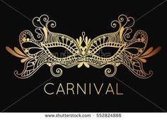 Mardi Gras Carnival mask of lace golden. Mono line style. Vector Illustration Background.