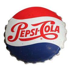 Over sized vintage original metal Pepsi Cola bottle cap sign. Coca Cola, Pepsi Logo, Fire Helmet, Burger King Logo, Vintage Signs, Pop Culture, The Originals, Bottle Caps, Helmets