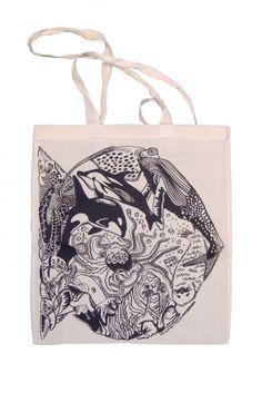 THIJS LANSBERGEN, FISHBAG: screen-printed sea life bag. via @Johan Hedenskog @Traci Myers Fellhoelter