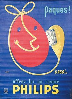 Pâques ! Offrez lui un rasoir Philips - illustration de Seguin - Radios, Old Pub, Philips, Vintage Ads, Advertising, France, The Originals, Madison Avenue, Dutch
