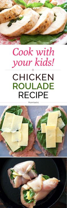 Kids in the Kitchen: Chicken Roulade with Basil & Cheddar Recipe Cooking Recipes, Healthy Recipes, Cooking Ideas, Yummy Recipes, Healthy Food, Food Ideas, Chicken Roulade Recipe, Thanksgiving Chicken, Kitchens