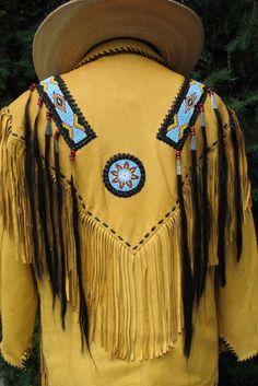 leather men's fringed shirt | Men's Fringed Natural Leather Indian War-Shirt Western Jacket NWT *