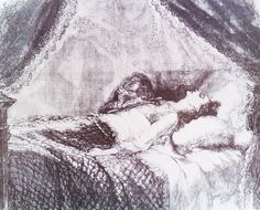 Marie Duplessis at her deathbed. Painting attributed to Charles Chaplin. He painted her on 3th February, only a few hours after she died in her appartement at 11 Boulevard de la Madeleine.