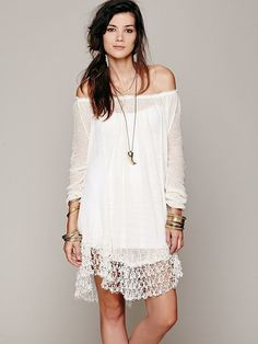 FREE PEOPLE NWT $148 Boho Shirred Peasant Lace Tunic Pullover Sheer Dress S, M #FreePeople