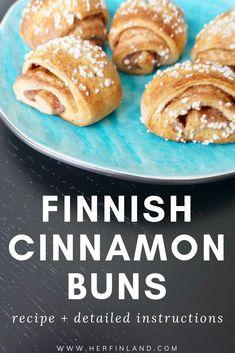 Learn how to make delicious Finnish cinnamon buns, aka Finnish pulla. Finnish Pulla Recipe, Finnish Recipes, Cinnamon Bun Recipe, Cinnamon Rolls, Pastry Recipes, Baking Recipes, Vegan Recipes, Healthy Desserts, Delicious Desserts